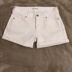 Banana Republic white premium denim roll up shorts